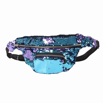 Sequin Belly Bag Cool Gift Unusual Light Blue Purple