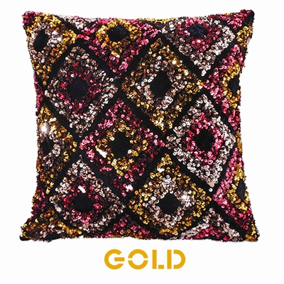 Noble Diamond Pattern Crystal Sequin Pillow Cushion Cover