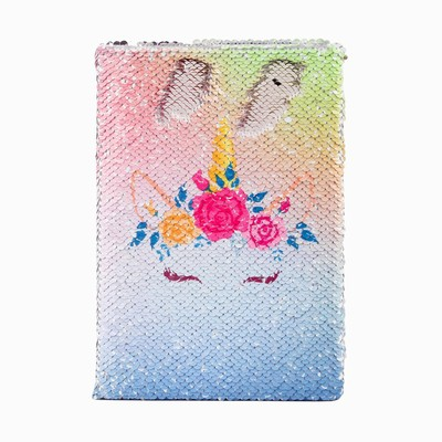 Bulk Professional Meeting Sequin Notebook Unicorn For Sale Silver