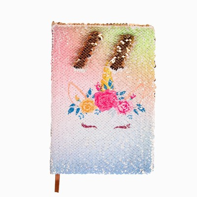 Hard Cover Paper Unicorn Sequin Notebook Gold