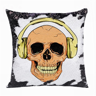 Attractive Wholesale Headphone Skull Gift Flip Sequin Pillow