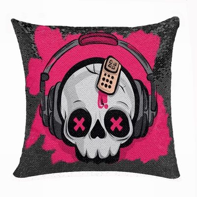 Awesome Skull Headphone Gift Personalised Picture Sequin Pillow