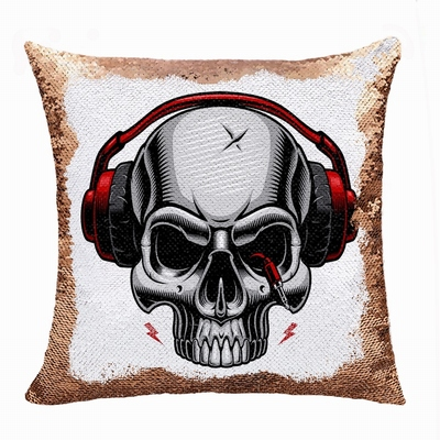 Clever Photo Gift Skull Headset Wholesale Flip Sequin Pillow