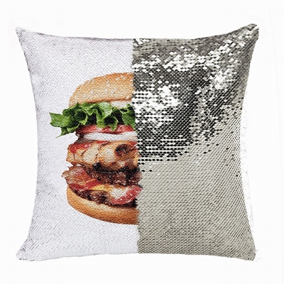 Funny Food Gift Personalised Image Reversible Sequin Pillow