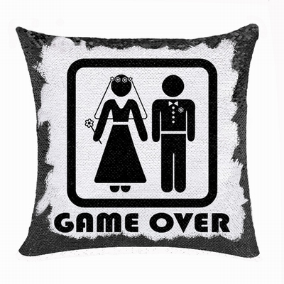 Funny Game Over Gift Personalised Image Reversible Sequin Pillow