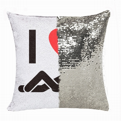 Funny Personalized Photo Sequin Cushion Cover I Love Fuck You
