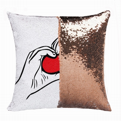 Handmade Double Sided Sequin Pillow Personalised Photo Gift Love