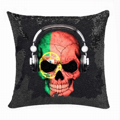 New Design Bulk Reversible Sequin Pillow Headset Skull Photo Gift