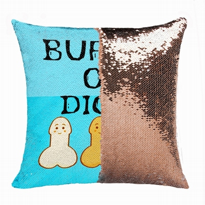 Personalised Picture Buffet Of Dicks Sequin Pillow Humorous Gift