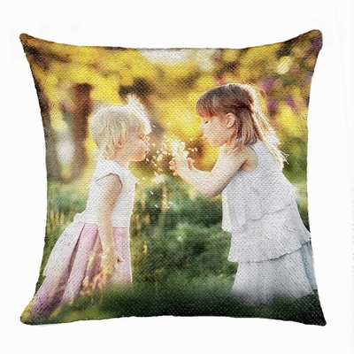 Special Wish Gift Personalized Photo Sequin Pillow Sister