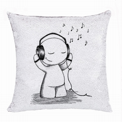 Unusual Gift Personalized Image Bluk Sequin Pillow Boy Love Music