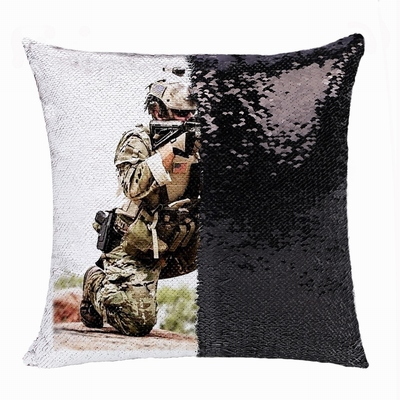Wholesale Military Man Gift Engraved Photo Sequin Cushion Cover