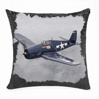 Wonderful Personalised Photo Double Sided Sequin Pillow Aircraft