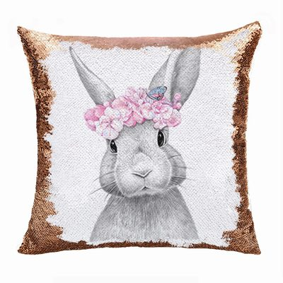 Sequin Pillow Wholesale Cute Bunny Cushion Cover