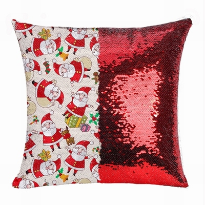 Christmas Best Gift Sequin Magic Pillow Small Snowman