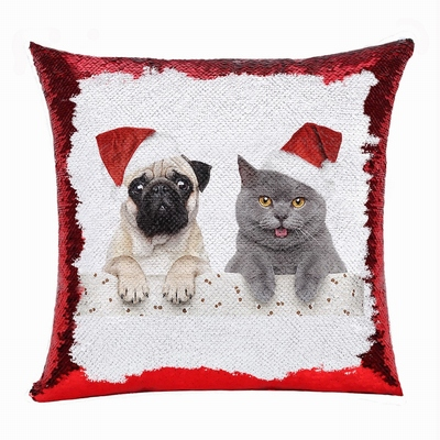 Christmas Clever Photo Gift Reversible Sequin Pillow
