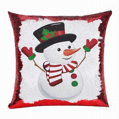 Christmas Cretive Custom Gift Flip Sequin Pillow Snowman