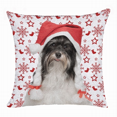 Christmas Gift Dog Photo Sequin Pillow Funny Personalized Gift