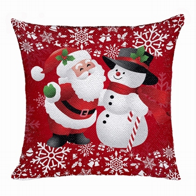 Christmas Snow Man Flip Sequin Pillow Photo Uncommon Gift