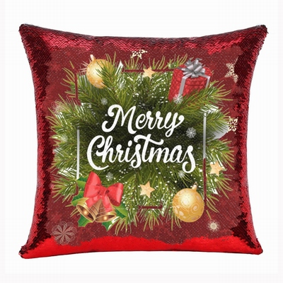 Christmas Tree Merry Christmas Sequin Pillow Number 1 Gift