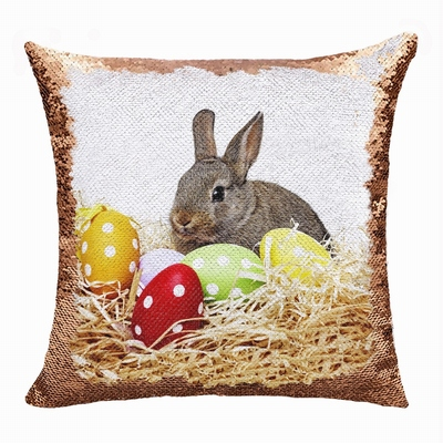 Easter Bunny Customized Gift Her Double Sided Sequin Pillow