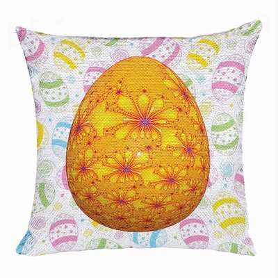 Easter Egg Orange Attractiv Present Sequin Pillow For Friends