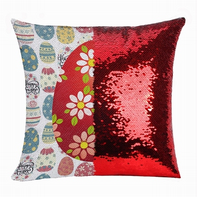 Easter Fashionable Present Photo Gift Red Egg Sequin Pillow