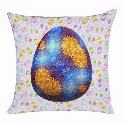 Personalized Easter New Design Gift Purple Egg Sequin Pillow