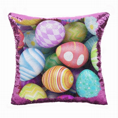 Easter Personalized Present Eggs Sequin Cushion Cover