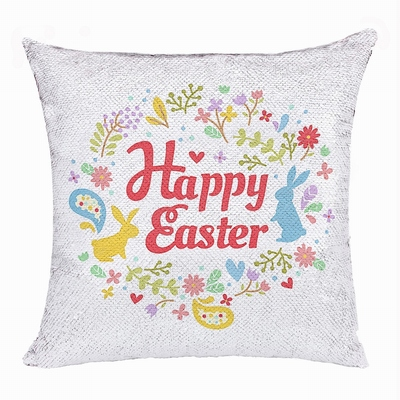 Happy Easter Gift Interesting Text Sequin Cushion Cover