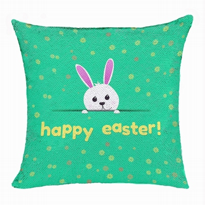 Happy Easter Rabbit Top Gift Sequin Pillow Personalized Gift