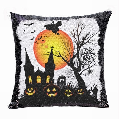 Halloween Moon Bat Church Tomb Flip Sequin Pillow Custom Gift