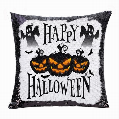 Halloween Gift Black Pumpkin Ghost Personalized Sequin Pillow