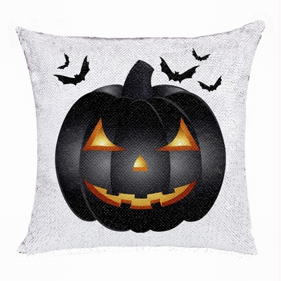 Halloween Special Personalized Gift Black Pumpkin Sequin Pillow