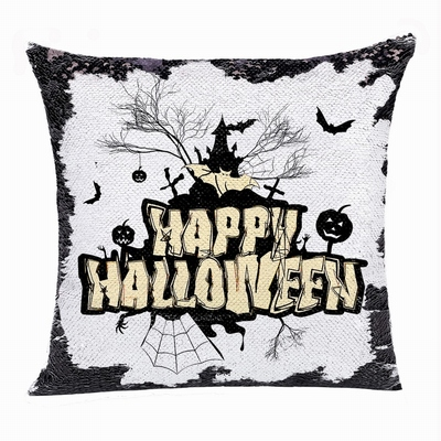 Happy Halloween Good Present Church Bat Pumpkin Sequin Pillow