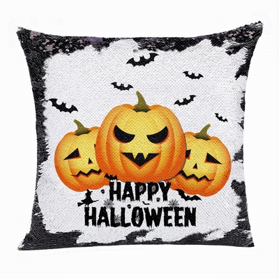 Happy Halloween Popular Gift Pumpkin Sequin Magic Pillow