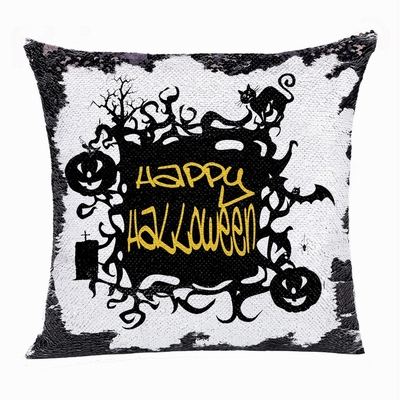 Happy Halloween Pumpkin Cat Bat Double Sided Sequin Pillow