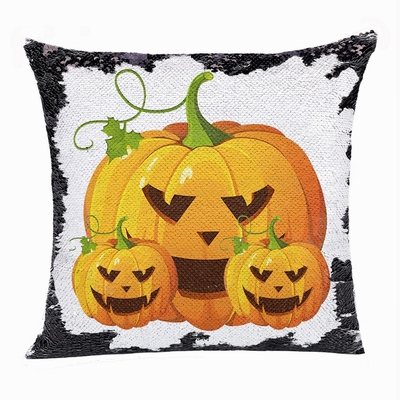 Pumpkin Flip Sequin Pillow Presonalized Photo Present