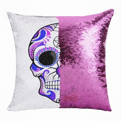Skull Cheap Custom Present Personalized Sequin Cushion Cover