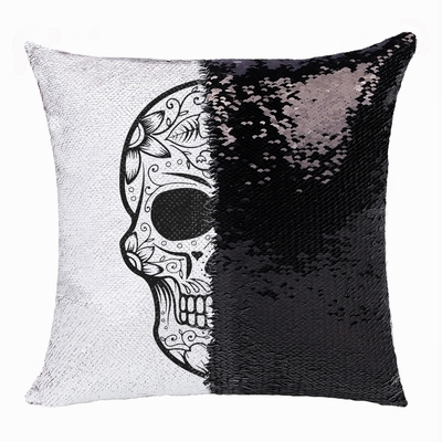 Personalized Skull Cute Custom Gift Black Sequin Cushion Cover
