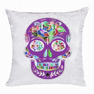 Skull Funny Personalize Photo Gift Sequin Magic Pillow