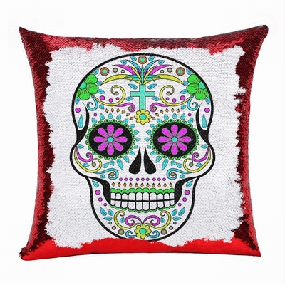 Skull Head Festival Personalized Sequin Pillow Cute Gift