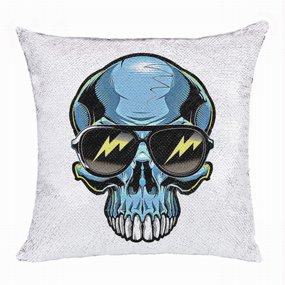 Skull Head Personalized Gift Pop Present Sweet Sequin Pillow