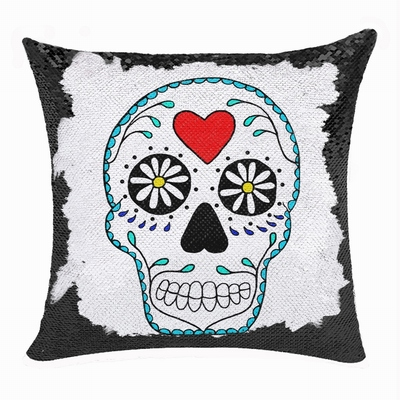 Skull Head Heart Interesting Present Personalized Gift Sequin