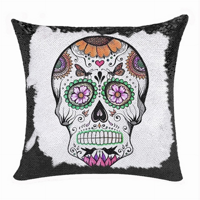 Skull Personalized Photo Present Brand New Sequin Pillow