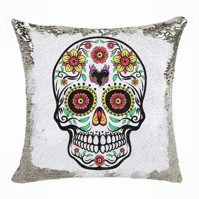 Skull Sequin Cushion Cover Perfect Personalized Present