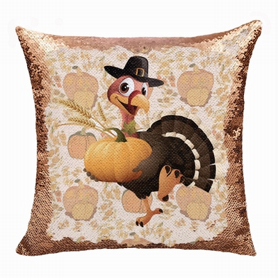 Thanksgiving Attactive Gift Pumpskin Trukey Sequin Pillow