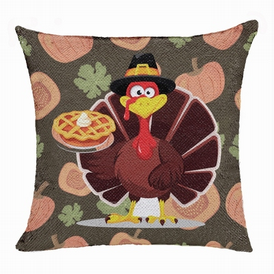 Thanksgiving Turkey Sequin Pillow Engraved Personalized Gift