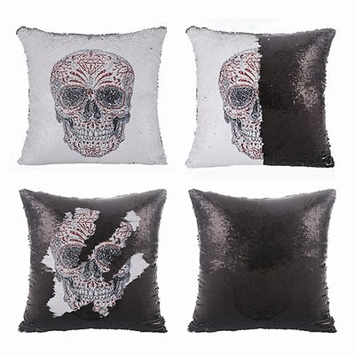 Sequin Cushion Cover Skull Halloween Gift