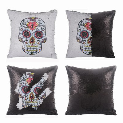 Sequin Cushion Cover Skull Flower Pillow In Bulk